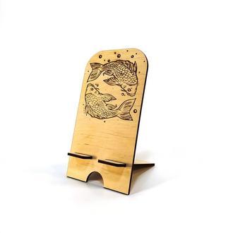 Подставка держатель для мобильного телефона смартфона Рыбы Мастерская мистера Томаса 18х10см Фанера