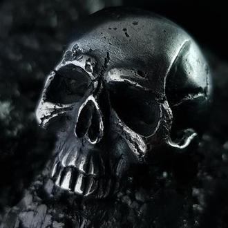 Кольцо чернённое серебро Череп King size