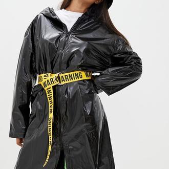 Дождевик женский DRYDOPE черный удлиненный (+ 10 см.) с поясом Warning