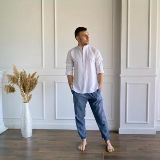 Мужские штаны из натурального льна