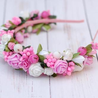 Обруч ободок с цветами бело-розовый