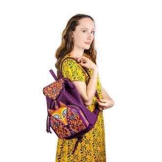 """Текстильный рюкзак фиолетовый с оригинальной вышивкой """"Лиса"""""""