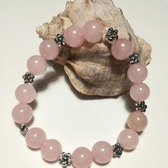 Браслет из Розового кварца натуральный камень цвет розовый и его оттенки тм Satori \ Sb - 0060