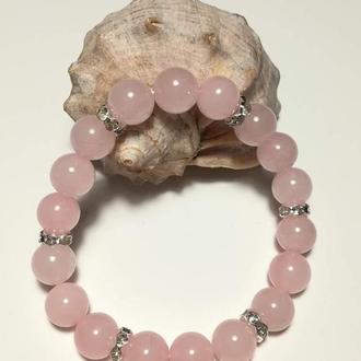 Браслет Розовый кварц натуральный камень цвет розовый и его оттенки тм Satori \ Sb - 0058