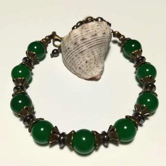 Браслет из Хризопраза натуральный камень тм Satori \ Sb - 0276