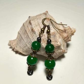 Серьги Хризопраз натуральный камень бронза цвет зеленый и его оттенки тм Satori \ S - 0212