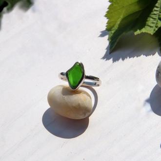 Серебряное кольцо с хромдиопсидом, серебряное кольцо с камнями, подарок