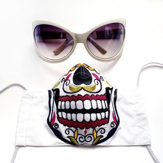 Многоразовая маска с машинной вышивкой, есть зажим для носа
