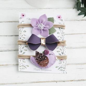 Набор повязок для девочки / Фиолетовые повязки для малышки / Подарунок дівчинці на рік