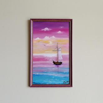 Картина маслом розовое море, Картина с морем, Большая картина, Картина в раме, Морской пейзаж