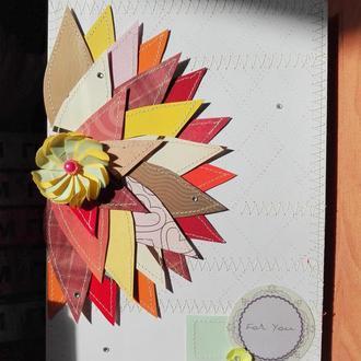Открытка с хризантемой