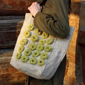 Эко-сумка с кожаными ручками