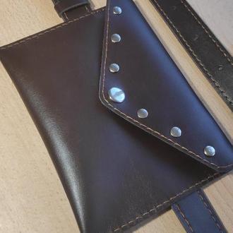 Кожаная сумка клатч на пояс