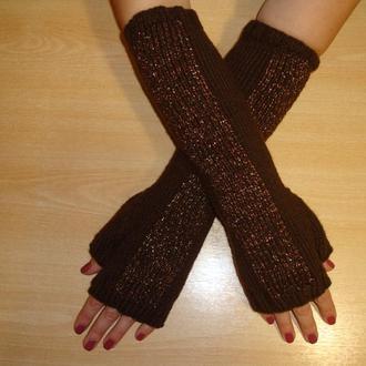 Вязаные митенки перчатки без пальцев с узором - сезон 2020/2021