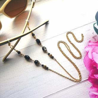 Ланцюжок для окулярів Чорна вишуканість. Ланцюжок для окулярів з чорними намистинами.