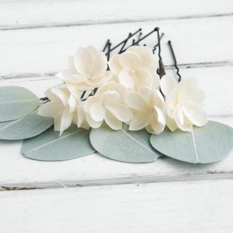 Шпильки с кремовыми маленькими цветами / Заколки для волос с цветами