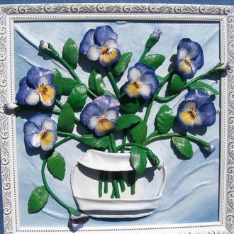 Объёмная картина из натуральной кожи Анютины глазки Виола подарок бабушке цветы фиалки панно декор