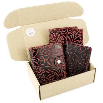 Подарочный набор №39: Кошелек София + обложка на паспорт + обложка на ID паспорт (бордовый цветок)