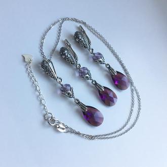 Срібні сережки і кулон з натурального каменю аметрин і оригінальними кристалами Swarovski