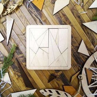 Пазл Танграм Архімеда НФ дерев'яний, деревянный пазл Танграм Архимеда
