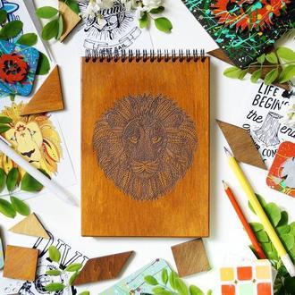 Блокнот Лев 2, деревянный блокнот Лев 2, с деревянной обложкой