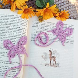 Вязаная закладка бабочка для книг