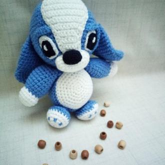 Игрушка собака, вязаный щенок, мягкая собачка,подарок ребенку 0+