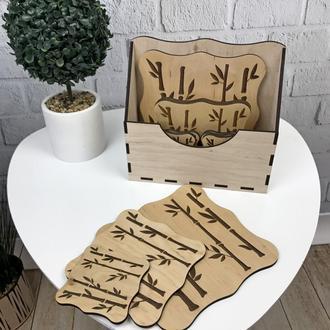 Набор деревянных подставок под горячее с коробочкой