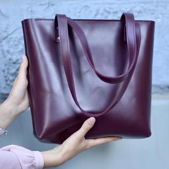 Офисная женская кожаная сумка шоппер_марсала