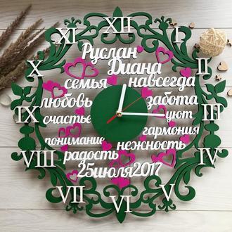 Деревянные настенные часы со словами на подарок