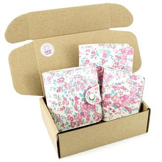 Подарочный набор №39: Кошелек София + обложка на паспорт + обложка на ID паспорт (белый в цветок)