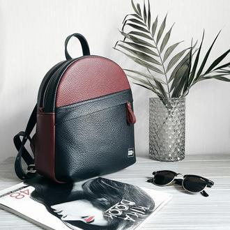 Сумка-рюкзак Lullaby чорний+бордо .Кожаный рюкзак женский .Стильный кожаный рюкзак .