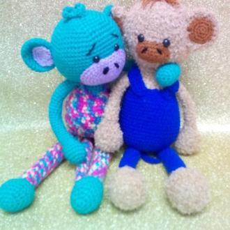 Игрушка обезьяна вязаная мягкая обезьянка подарок для ребенка 3+