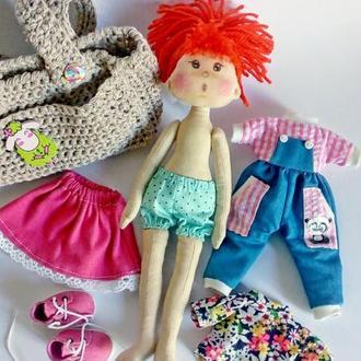 Текстильная кукла для самых маленьких. Кукла с сумочкой.