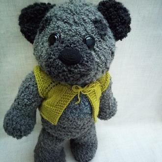 Игрушка большой медведь, вязаный мягкий мишка, подарок ребенку 3+