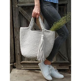 Светло серая сумка шоппер из натурального хлопка