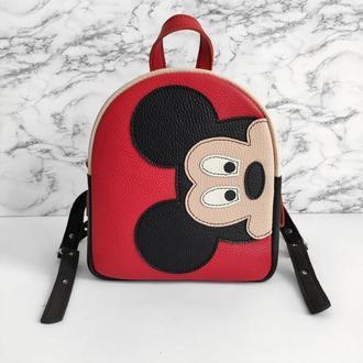 Рюкзак для дітей Мікі Маус . Детский кожаный рюкзак . Детский рюкзак с апликацией .