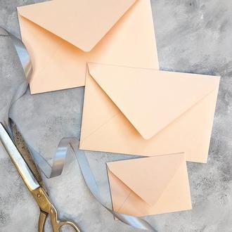 Цветной однотонный конверт 8х11 (разные оттенки)