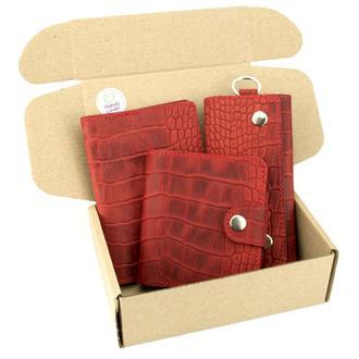 Подарочный набор №26: Кошелек София + обложка на паспорт + ключница (красный крокодил)
