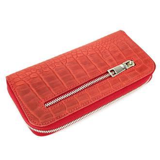 Женский кожаный кошелек на молнии LIKA-2 (красный крокодиловый)