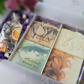 Подарочный набор. Натуральное мыло и аромасаше ручной работы (4+1) для близких, подруги, коллеги