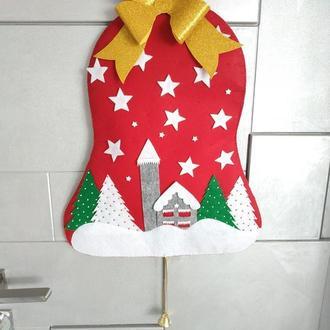 Новогодний колокол из фетра на дверь Новогодний декор на дверь Merry Christmas
