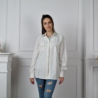 Женская рубашка оверсайз из натурального льна