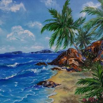 Картина маслом тропический пляж Гавайи