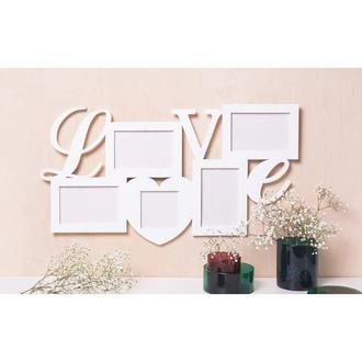 Фоторамка «love» 54х35 см, фото 10х15 см- 4 шт, 10х10 см -1 шт