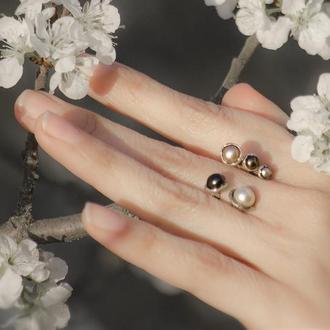Серебрянное кольцо с белыми и черными жемчужинами, кольцо с регулируемым размером с жемчугом