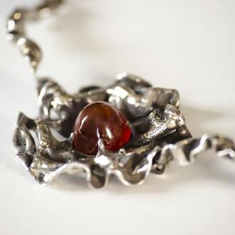 Серебрянный браслет с сердоликом