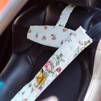 накладка на ремень безопасности длинная мягкая, двухсторонняя с карманом Прованс