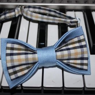 Галстук-Бабочка голубая комбинированная, детская