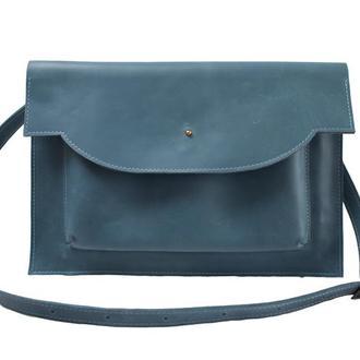 Чехол для MacBook с ремешком из натуральной кожи. 03010/голубой